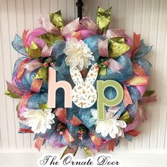 Easter wreath, spring wreath, bunny wreath, floral wreath, deco mesh wreath, blue and pink wreath, front door Easter, spring decor, wreaths by TheOrnateDoor on Etsy Pink Wreath, Floral Wreath, Light Blue Flowers, Wreath Hanger, Bunny Face, Spring Sign, Green Glitter, Small Shops, Activity Ideas