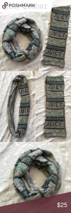 🆕Juicy Couture Knit Logo Infinity Scarf Gray Teal Juicy Couture Knit Infinity/ Loop scarf- just in time for those chilly fall nights! Super soft and cozy mohair. Gray & teal/ turquoise blue knit logo design. Gold thread detail for just a hint of sparkle. Brand new condition- Never been worn. Reasonable offers always considered and welcome! 💙 Juicy Couture Accessories Scarves & Wraps
