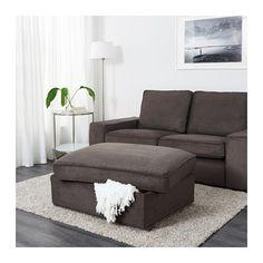 grey brown kivik living rooms | IKEA KIVIK footstool with storage Big, practical storage space under ...