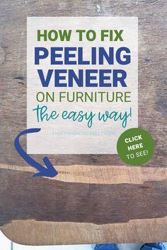 Pallet Patio Furniture How To Fix Broken Veneer on Furniture the Easy Way! Fixing broken wood veneer Glazing Furniture, Furniture Painting Techniques, Furniture Repair, Furniture Refinishing, Restoring Furniture, Refinished Furniture, Furniture Storage, Diy Furniture Videos, Diy Furniture Projects