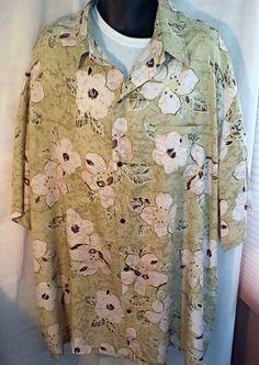 Iolani Hawaiian Shirt Size 5X Green White Flowers 1980's Mens Camp Shirt XXXXX…