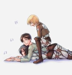 The immortal gang, Mikasa, Eren, and Armin Attack On Titan Comic, Attack On Titan Ships, Attack On Titan Fanart, Otaku Anime, Anime Guys, Manga Anime, Touko Pokemon, Mikasa X Eren, Eren X Armin