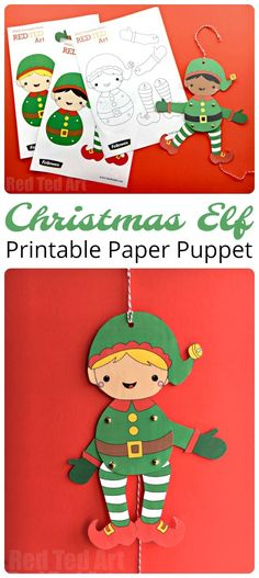 Easy Christmas Elf Paper Puppet with Templates - Red Ted Art - Make crafting with kids easy & fun Christmas Paper Crafts, Preschool Christmas, Paper Crafts For Kids, Crafts For Kids To Make, Noel Christmas, Christmas Activities, Christmas Printables, Simple Christmas, Christmas Themes