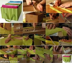 Create your own pretty storage from cardboard boxes!