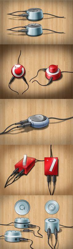 HABO — headphones to speakers switchbox by Estiva , via Behance