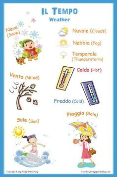 Italian Language Poster - Weather words in Italian, Bilingual Chart for Classroom and Playroom http://www.amazon.com/dp/B0074EMDR8/ref=nosim?tag=ireadi0a-20