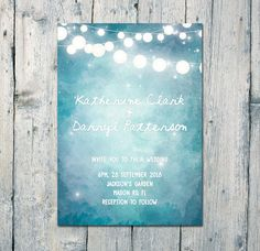 Blue Lights #wedding #invitation #card and by WeddingSundaeShop