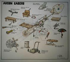 avion casero ,dibujo by Antonio Cornejo Niederle.