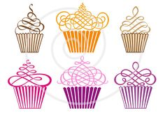 Set of cute cupcakes, cakes, muffins, digital, clip art, clipart, vector, clip-art, printable for cards, scrapbook kit, instant download on Etsy, $6.00