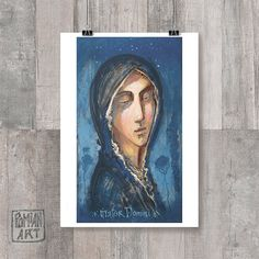 DIGITAL Art Print - Virgin Mary, Mother of God icon, Religious painting, Icon print, Blue sky print, Starry sky, Digital Poster