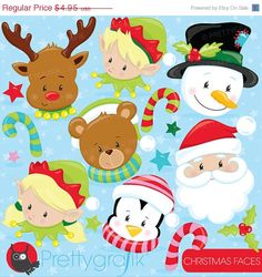 80 OFF SALE Christmas faces clipart by Prettygrafikdesign on Etsy