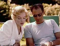 Milton Greene - Marilyn Monroe - Summer 1956 - while filming the Prince and the Showgirl - with Arthur Miller relaxing in the gardens of Parkside House, Englefield Green, England