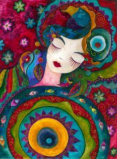 Uykuda by ~Doriah on deviantART **her style reminds me of Laurel Burch Arte Dope, Turkish Art, Art And Illustration, Whimsical Art, Mandala Art, Painting Inspiration, Female Art, Cute Art, Flower Art