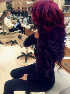 HAIR: Purple, curls, volume