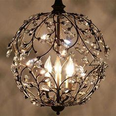 """Unique VINTAGE Dia: 43 cm/17"""" Round CAGE BRONZE Chandelier CRYSTAL pendant lamp $375"""