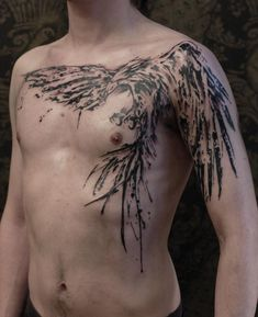 Phoenix on Chest Tattoo - Graphic Brush Stroke Style
