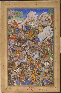 Akbarnama   the battle preceding the capture of Bundi fort in north-western India by the Mughal army in 1577. by Tulsi Kalan ca. 1586 - ca. 1589 V&A