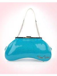 Amoeba Handbag in Turquoise Glitter and White Vinyl Trim