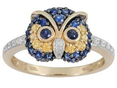 """.54ctw Blue Sapphire With .14ctw Yellow Sapphire And .04ctw White Diamond Accent 14k Gold """"owl"""" Ring"""