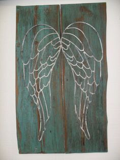 Angel Wing Wall Decor by RustyJunquers on Etsy..,need Decarlo to paint this for me!