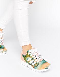 Agrandir Adidas Originals - ZX Flux - Baskets imprimées - Rose poudré