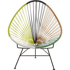 fan of the fifties.  Modernist aesthetic brings the '50s resort look to urban deck, patio, terrace.  Handwoven over black powdercoated steel tube frame, bold colorblocked beams of green, orange black, yellow and white PVC cord radiate a hot spot for hanging out.