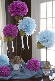 Tissue Paper Flowers..... gorgeous FROZEN PARTY COLORS