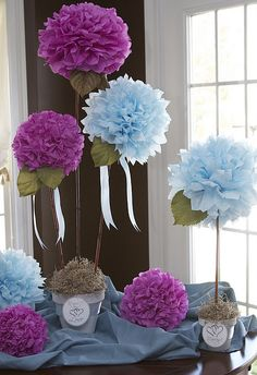 Centerpiece - Tissue Paper Flowers. So cute a little rounder edges and they'd look like hydrangeas.
