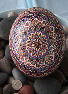 Traditional Eight Pointed Star Motif Ukrainian Egg Pysanka - Ostrich Egg