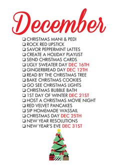 Free December Seasonal Living List Printable from Paper and Glam