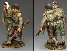 World War II U.S.Infantry Divisions DD241 Walking Wounded G.I. Being Helped by Buddy - Made by King and Country Military Miniatures and Models. Factory made, hand assembled, painted and boxed in a padded decorative box. Excellent gift for the enthusiast.