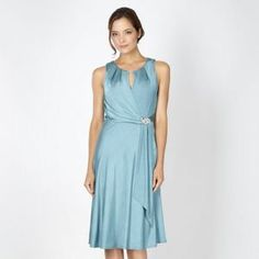 Debut Turquoise jersey brooch dress- at Debenhams Mobile