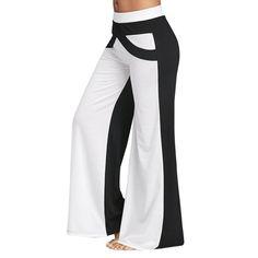 2cb39feaaddd16 Women's Color Block Wide Legged Pants S-2Xl Elastic Waist Pants Trousers