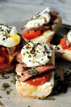 Steak, Egg, Goat Cheese Breakfast Bruschetta