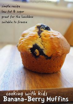 Simple Banana Berry Muffins. Cooking with and for Kids.