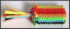 The Mega-Fourteen Brick Scoubi-Doggle(scoubidou, boondoggle, gimp, lanyard). Made from seven strands of plastic lace, learn to make one now!