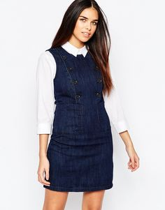 Image 1 of Warehouse Button Detail Denim Dress