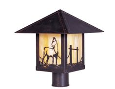 Arroyo Craftsman TRP-9HS Timber Ridge 9 inch Outdoor Light Post with Horse Filigree - ARR-TRP-9HS