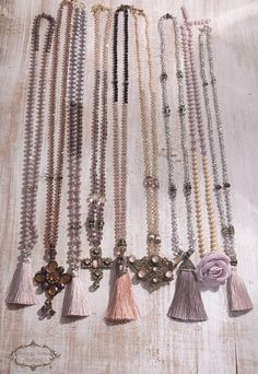 Silk Tassel Necklace, Boho Chic Necklace, Pink - Black Necklace, Bohenian Statement Necklace, Christmas Gift, Bridesmaid gift A gorgeous hand knotted long Tassel Necklace . Features antique rhinestones , pink opalescent crystal beads , black crystal beads , silk tassel with bronze