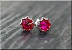 Ruby Earrings. Sterling Silver July Ruby Post by thewrappedpixie
