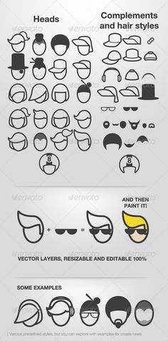 Avatar Faces — Vector EPS #face #vector • Available here → https://graphicriver.net/item/avatar-faces/758464?ref=pxcr