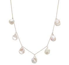 14K Yellow Gold Keshi Pearl Station Necklace $219.99