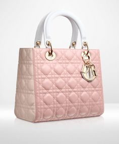 Lady Dior Three-tone dark pink, powder pink and grey leather 'Lady Dior' bag