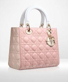 Lady Dior Three-tone dark pink, powder pink and grey leather 'Lady Dior' bag