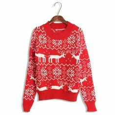 Cute Christmas Sweaters for Women Print Snowflake Reindeer Cartoon Red Color. I love Christmas sweaters