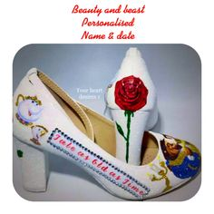 27bdaa7d184f Beauty and beast wedding shoe decal bridal shoes personalised shoe stickers