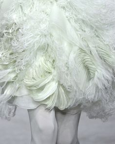 feather skirt, skirt of dress contender Ruffled Feathers, White Feathers, Feather Skirt, Feather Fashion, Prom Queens, Lavandula, Shades Of White, Marchesa, Couture Dresses