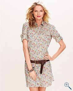 Garnet Hill Liberty Print Shirt Dress. $250. With frye boots or sandals...