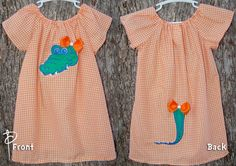 Florida Gators Peasant Dress with Tail & Bows 3 6 by PaintedNeedle, $50.00