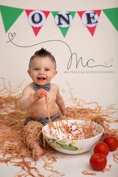 Melissa Calise Photography (First 1st Birthday Spaghetti Smash Cake Smash Alternative Italy Italian Italiano Theme Ideas Baby Boy Macaroni Sauce)